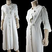 Antique Edwardian Fine White Linen Day Dress