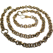 Antique 21 1/2-Inch Georgian Gilt Metal Necklace With Two Split Rings, Clip And Threaded Clasp