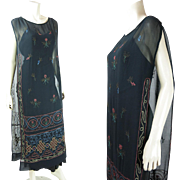 Exotic Vintage 1920's Beaded And Embroidered Tabard Dress With Metallic Threads