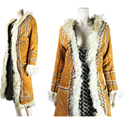 Vintage Circa 1970 Embroidered Shearling Coat With Curly Lamb Trim