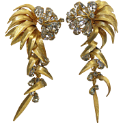 Flamboyant Vintage 1960's Vendome / Coro Rhinestone Statement Earrings 4 1/4-Inches Long