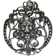 Antique Peruzzi Italy Sterling Silver Pendant With Grotesque Mask