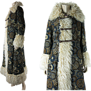Outstanding Circa 1970 Russian Style Tapestry Coat With Fur