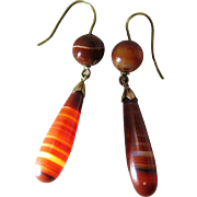 Antique Victorian Banded Agate Drop Earrings With French Wires - 2 1/4-Inches
