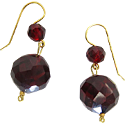 Antique 14K Gold And Faceted Cherry Amber Earrings With Ear Wires