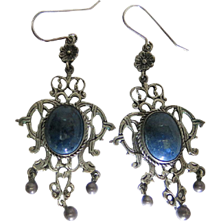 Elegant Antique Arts & Crafts Era 3 1/8-Inch Long Silver Chandelier Earrings With Sodalite Cabochons