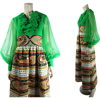1970's Mollie Parnis Empire Waist India Print Maxi Dress With Paillettes