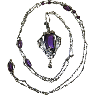 Rare Signed GNS George Steere 53-Inch Sautoir Pendant Necklace With Amethyst Glass