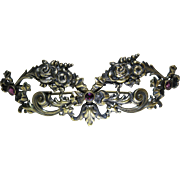 Large And Romantic Antique Victorian Sterling Silver Vermeil And Amethyst Roses Brooch By ...
