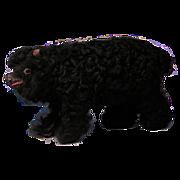 "SALE NEW YEAR REFRESH SALE: 8"" Long black Lambskin Covered Paper Mache Bear Cub"