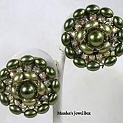 Vintage Clip Aurora Borealis Rhinestone and Beaded Earrings