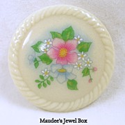 Signed Avon, Porcelain Floral Brooch Pin