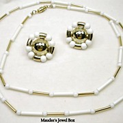 SALE Vintage White and Gold Tone Chain with Coordinating Clip Earrings