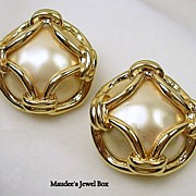 SALE Signed Carolee Vintage Simulated Pearl and Chain Clip Earrings