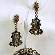 Victorian Style Sapphire Pink Rhinestone and Simulated Pearl Angel Brooch and Dangle Earrings