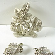 SALE Trifari Vintage Demi Parure Brooch Pin Clip Earrings with Berries and Leaves in Silver ..