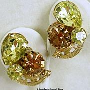 Vintage Simulated Citrine and Topaz Rhinestones Clip Earrings