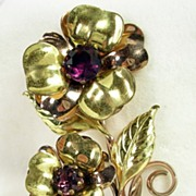 SALE Vintage Rose Gold Tone and Gold Tone Double Rose with Amethyst Glass Pin