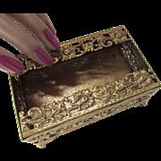 SALE Ornate Filigree Open Work Globe Tissue Box 24 Kt Gold Plated Small Size