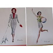 SALE PENDING 1938 Advertising Fashion Plate Calendars or Ink Blotters Group of 11, All Differe