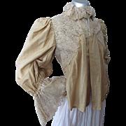Elegant Victorian Era Top or Waist in Honey Tone Silk and Cascades of Ecru Lace