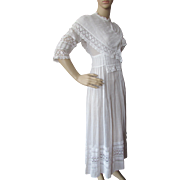 Edwardian Era Summer Dress in White with Layers of Lace