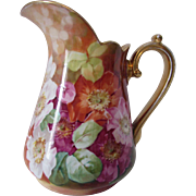 SOLD RESERVED! Coronet Limoges France Painted Roses Pitcher Signed A. Brunsillon