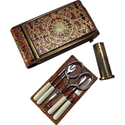 Moroccan Style Compact, Lipstick and Nail Set Tooled Leather Style