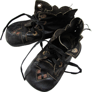 Pair Black Leather Baby Shoes