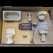 SALE Strombecker Doll House Furniture White Bathroom Set in Original Box