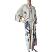 Asian Style Kimono Robe in Wheat with Black Embroidered Dragon