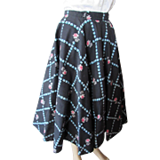 SALE 1950's Circle Skirt in Black with Blue Trellis and Pink Roses