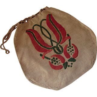 SALE Linen Work Bag with Arts & Crafts Design Persimmon and Green McIntosh Style Design