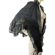 Victorian Era Cape in Black with Lace and Bead Trim
