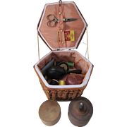 SOLD Woven Straw Sewing Box with Contents Needles Darner Thread Wood Boxes