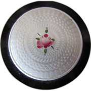 SALE Vintage Compact in Black & White Guilloche with Center Pink Rose