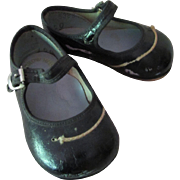 SALE Baby or Large Doll Shoes Black Patent Mary Janes  Size 1