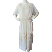 SALE Turn of the Century Graduation Dress in Oyster Chiffon for Display