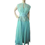 SALE Fabulous Evening Gown in Aqua Nylon and Lace Dance Original Fred Perlberg