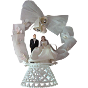 SALE Wedding Cake Topper Bride & Groom with Net Arch and Sugared Bells Mid-Century