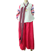 SALE Korean Festival Dress in Red with Multi Color Striped Jacket