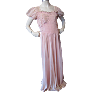 1940 1950 Party or Prom Dress in Ruched Pink Nylon