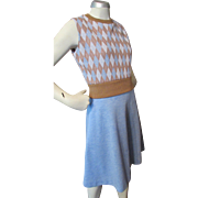 SALE Mod 1970 Dress One Piece Polyester in Argyle Brown and Baby Blue
