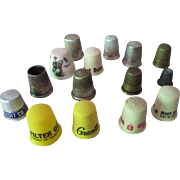 SALE Sewing Thimbles Advertising Plastic, Metal Grouping of 15