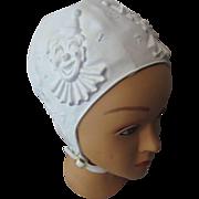 SALE Child's Swim Cap in White with Circus Theme Raised Figures