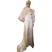 SALE 1970's Wedding Dress in Candlelight Satin with Juliet Cap Veil Home Tailored