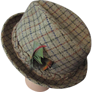 SALE Men's Fedora in Green Tattersall Plaid with Jaunty Feather by Champs