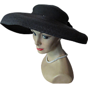 SALE Mid-Century Black Straw Hat with Wide Brim Marshall Field and Company Young Chicago