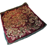 SALE PENDING Velour Tapestry Pillow Top in Wine Tone Early 20th Century