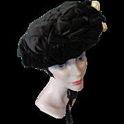 SALE Victorian Era Black Velvet Hat with Faux Pearl Tear Drop Decoration